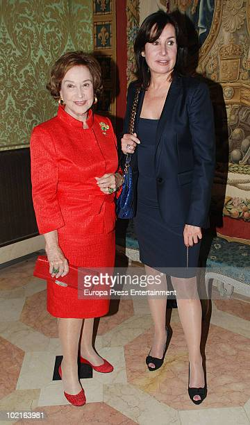 Carmen Franco and Carmen Martinez Bordiu attend Mod's Art Paris Exhibition at French Ambassador's residence on June 16 2010 in Madrid Spain