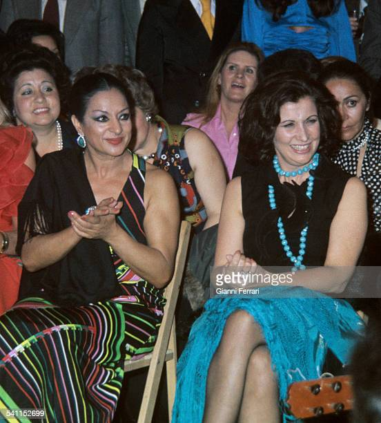 Carmen Franco daughter of Francisco Franco with the Spanish singer Lola Flores in the Feria de Sevilla Seville Andalusia
