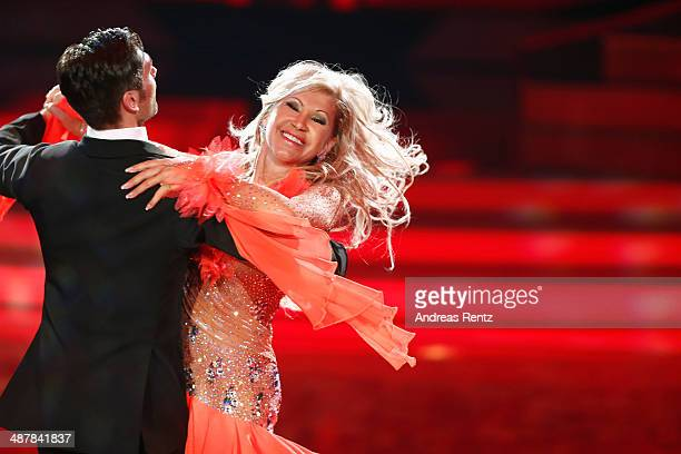Carmen Geiss and Christian Polanc perform during the 5th show of 'Let's Dance' on RTL at Coloneum on May 2 2014 in Cologne Germany