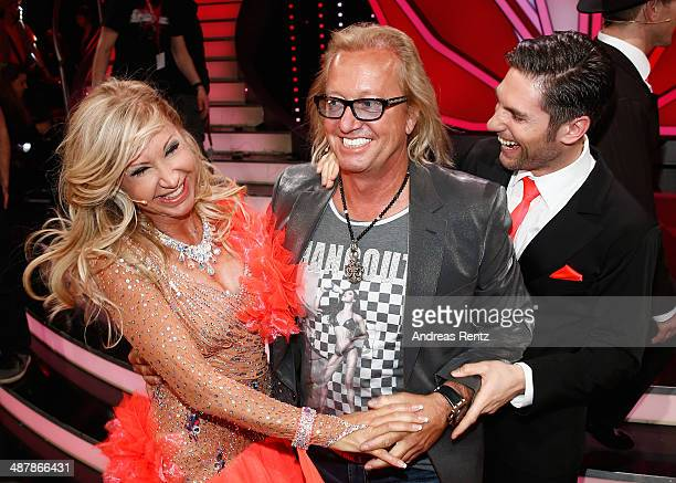 Carmen Geiss Robert Geiss and Christian Polanc attend the 5th show of 'Let's Dance' on RTL at Coloneum on May 2 2014 in Cologne Germany