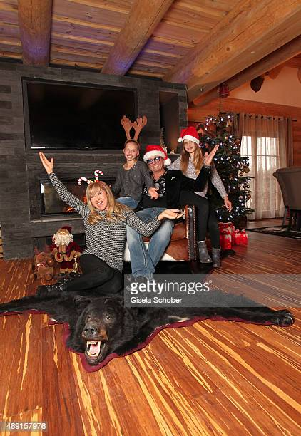 Carmen Geiss Robert Geiss daughter Davina Shakira and daughter Shania Tyra pose during a photo shooting in their house on December 13 2014 in Valberg...