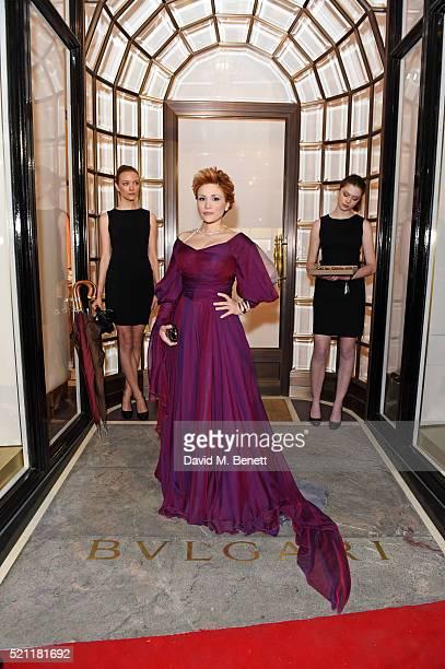 Carmen Giannattasio wearing Bulgari jewellery arrives at the Bulgari flagship store reopening on New Bond Street on April 14 2016 in London England