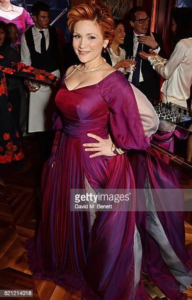 Carmen Giannattasio wearing Bulgari jewellery attends the Bulgari flagship store reopening on New Bond Street on April 14 2016 in London England