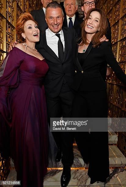 Carmen Giannattasio wearing Bulgari jewellery Bulgari CEO Jean Christophe Babin and Carla Bruni wearing Bulgari jewellery attend the Bulgari flagship...