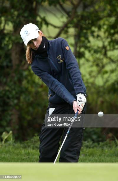 Carmen Griffiths of Aboyne in action during the final round of the R&A Girls U16 Amateur Championship at Fulford Golf Club on April 28, 2019 in York,...