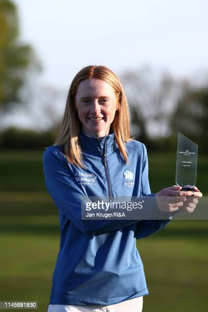 Carmen Griffiths of Aboyne poses with the runner up trophy during the final round of the R&A Girls U16 Amateur Championship at Fulford Golf Club on...
