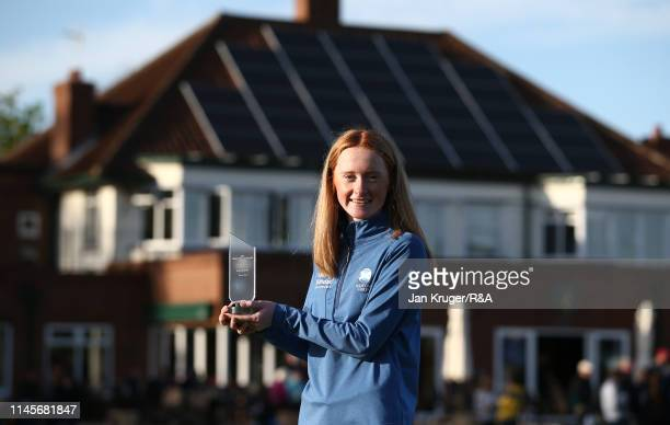 Carmen Griffiths of Aboyne poses with the runner up trophy during the final round of the RA Girls U16 Amateur Championship at Fulford Golf Club on...