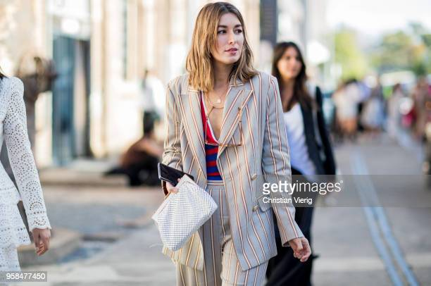 Carmen Hamilton wearing striped suit red blue striped v neck top sunglasses during MercedesBenz Fashion Week Resort 19 Collections at Carriageworks...