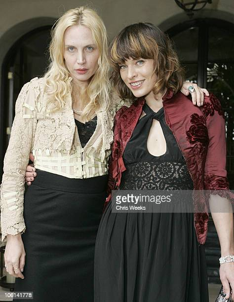Carmen Hawk and Milla Jovovich during Oliver Peoples Tracey Ross JovovichHawk and Richemont 2007 Oscar Luncheon at Private Residence in Beverly Hills...