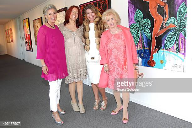 Carmen Hirmer Eva Schnitzenbaumer Mariete Lautner Uschi Gahren attend the Mauro Bergonzoli Exhibition 'Selected Works' at Hubert Burda Media...
