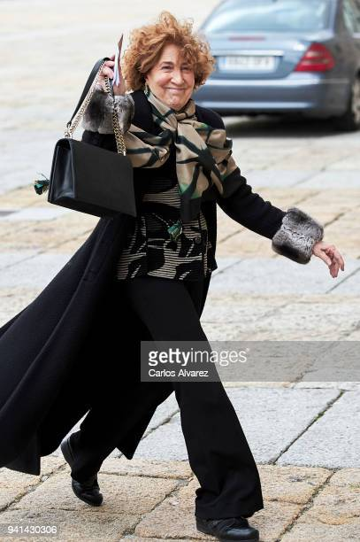 Carmen Iglesias attends a Mass in occasion of the 25th anniversary of death of Conde de Barcelona father of King Juan Carlos at San Lorenzo del...