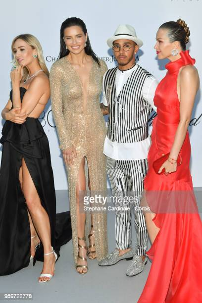 Carmen Jorda Adriana Lima Lewis Hamilton and Petra Nemcova arrive at the amfAR Gala Cannes 2018 at Hotel du CapEdenRoc on May 17 2018 in Cap...