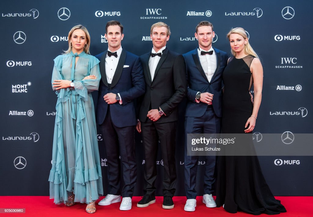 Carmen Jorda, Christoph Grainger-Herr, CEO of IWC Schaffhausen, Richard Permin, Maro Engel and Stefanie Engel attend the 2018 Laureus World Sports Awards at the Salle des Etoiles, Sporting Monte Carlo on February 27, 2018 in Monaco, Monaco.