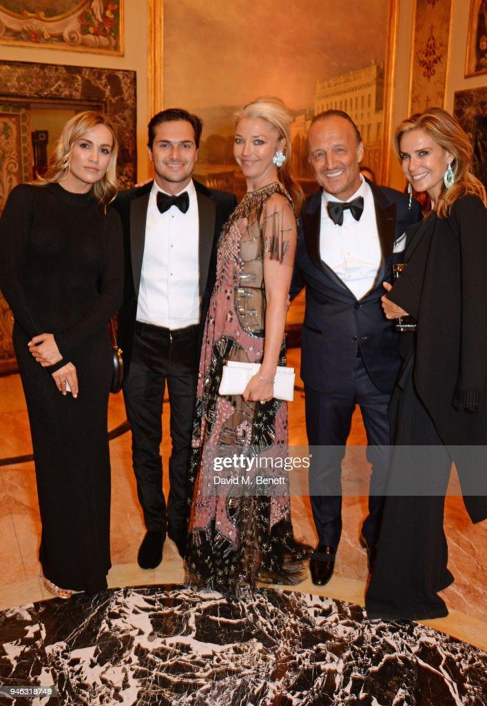 Carmen Jorda, Nelson Piquet Jr, Tamara Beckwith, Glenn Spiro and Arabella Spiro attend the ABB FIA Formula E Gala Dinner hosted by Bulgari at Villa Miani on April 14, 2018 in Rome, Italy.