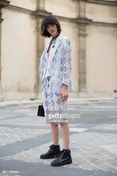 Carmen Julia poses wearing Thom Browne after the Thom Browne show at the Ecole des Beaux Arts during Paris Fashion Week Menswear SS18 on June 25,...