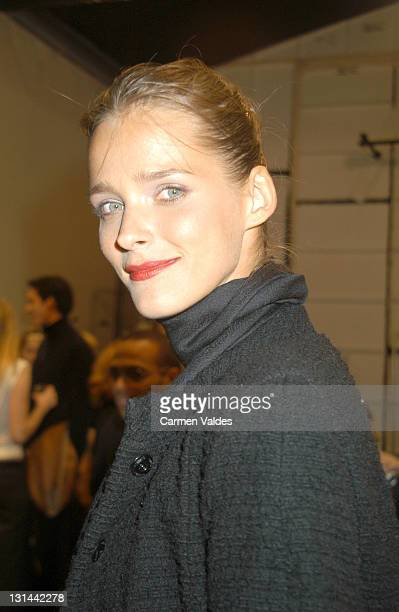 Carmen Kass during MercedesBenz Fashion Week Fall 2003 Collections Narciso Rodriguez Front Row at Bryant Park in New York City New York United States