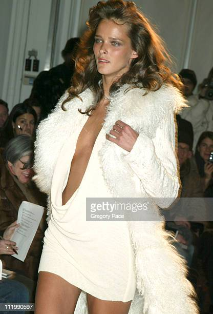Carmen Kass on the runway during Esteban Cortazar Fall 2003 Fashion Show at MAO Space in NYC in New York NY United States