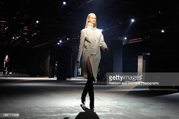 Carmen Kass walks the runway at the Alexander Wang Fall 2012 fashion show during MercedesBenz Fashion Week at Pier 94 on February 11 2012 in New York...