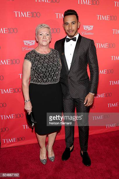 Carmen Larbalestier and formula One driver Lewis Hamilton attend the 2016 Time 100 Gala at Frederick P Rose Hall Jazz at Lincoln Center on April 26...