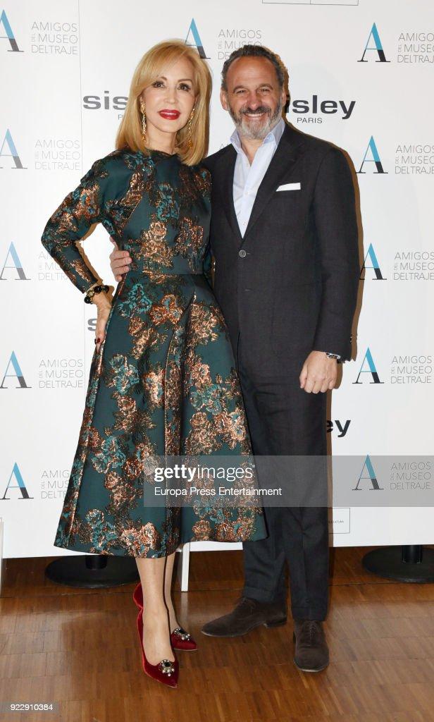Carmen Lomana and designer Marcos Luengo attend the 'El armario de Carmen Lomana' opening exhibition at Costume museum on February 21, 2018 in Madrid, Spain.