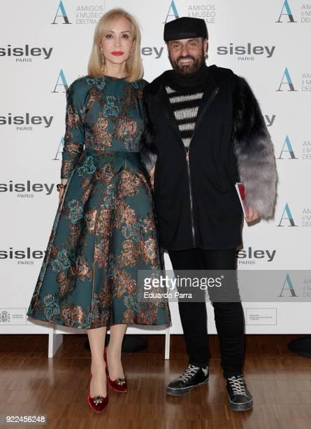 Carmen Lomana and designer Mesa attend the 'El armario de Carmen Lomana' exhibition photocall at Costume museum on February 21 2018 in Madrid Spain