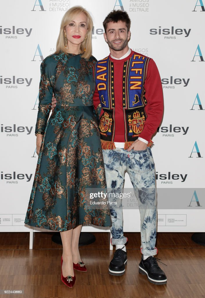 Carmen Lomana and Pelayo Diaz attend the 'El armario de Carmen Lomana' exhibition photocall at Costume museum on February 21, 2018 in Madrid, Spain.