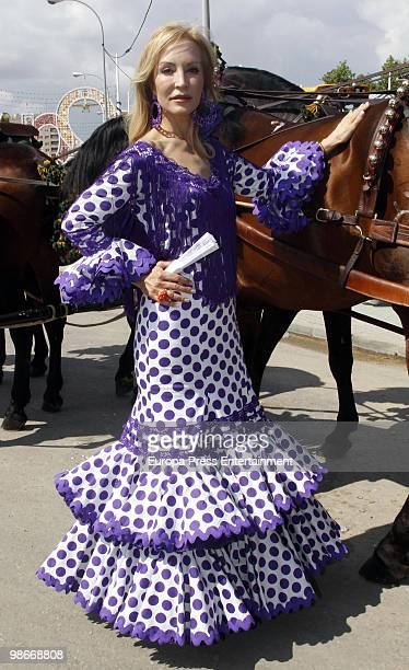Carmen Lomana attends the 'Feria de Abril' on April 23 2010 in Seville Spain Feria de Abril is held annually in Seville and it's the largest fair in...