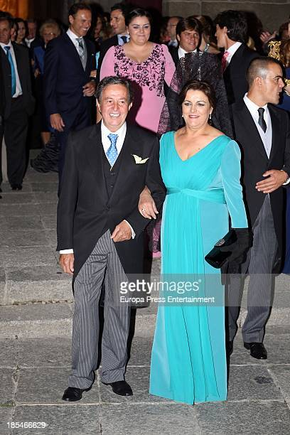 Carmen Lorenzo attends the wedding of bullfighter Miguel Angel Perera and Veronica Gutierrez at Old Cathedral on October 19 2013 in Salamanca Spain
