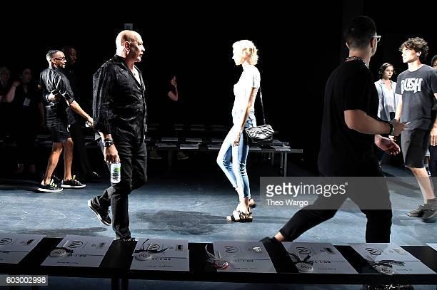Carmen Marc Valvo prepares backstage at the Carmen Marc Valvo Spring/Summer 2017 Fashion Show during New York Fashion Week at Pier 59 Studios on...