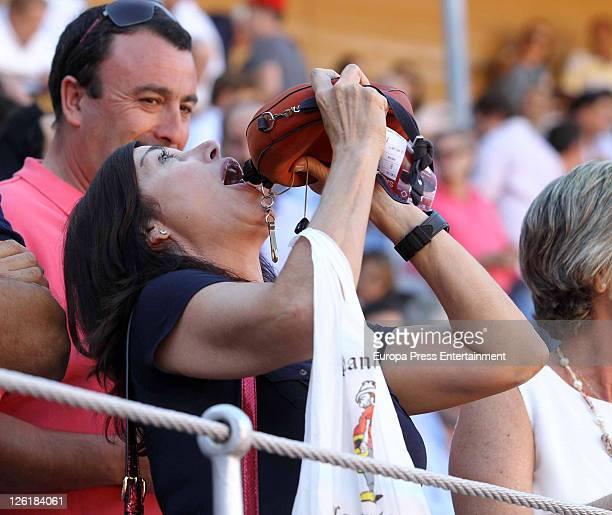 Carmen Martinez Bordiu is seen drinking from a wineskin on September 22 2011 in Salamanca Spain