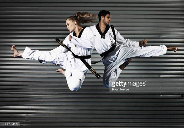 Carmen Marton and Safwan Khalil of the Australian Olympic Taekwondo team pose during a portrait session at Global Martial Arts on May 18 2012 in...
