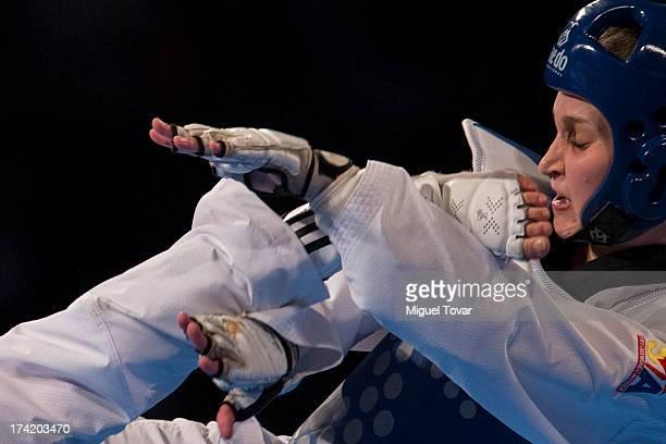 Carmen Marton of Australia competes with HwiLang Kim of Korea women's 62 kg final combat of WTF World Taekwondo Championships 2013 at the exhibitions...