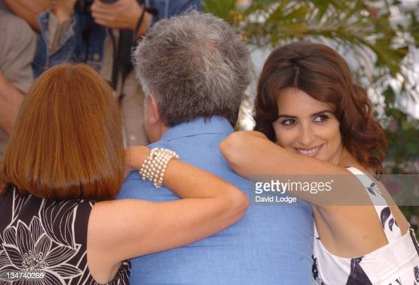 """Carmen Maura, Pedro Almodovar and Penelope Cruz during 2006 Cannes Film Festival - """"Volver"""" Photo Call at Palais du Festival in Cannes, France."""