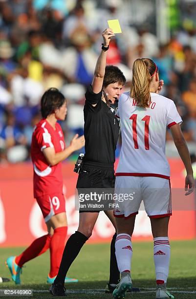 Carmen Menayo Montero of Spain is showen a yellow card during the FIFA U20 Women's World Cup Quarter Final match between Korea DPR and Spain at...
