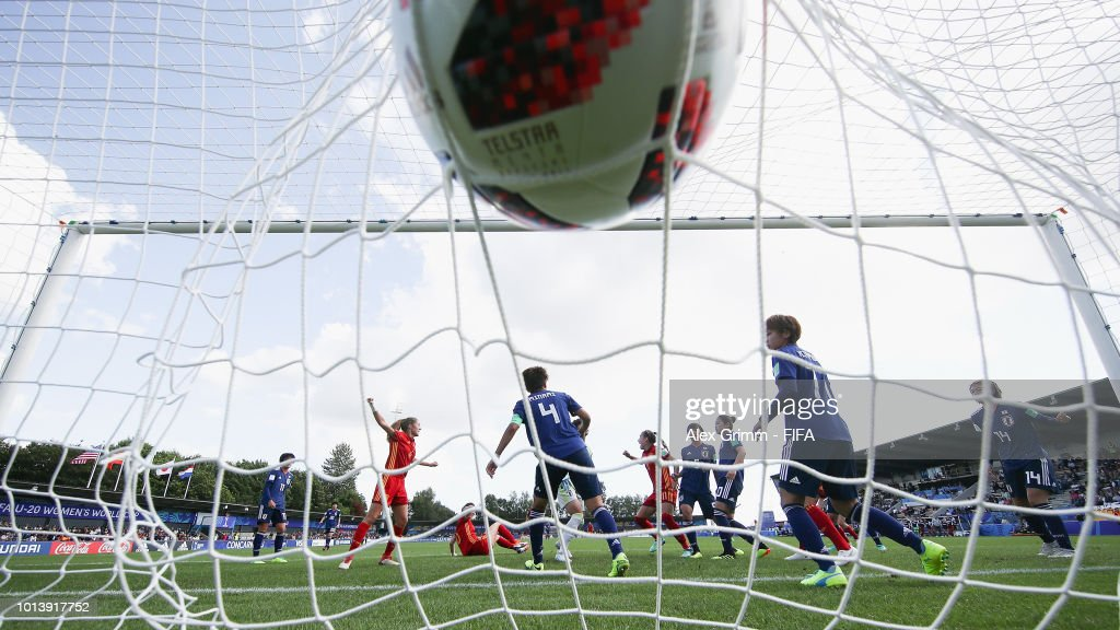 Carmen Menayo #11 of Spain scores her team's first goal during the FIFA U-20 Women's World Cup France 2018 group C match between Spain and Japan at Stade Guy-Piriou on August 9, 2018 in Concarneau, France.