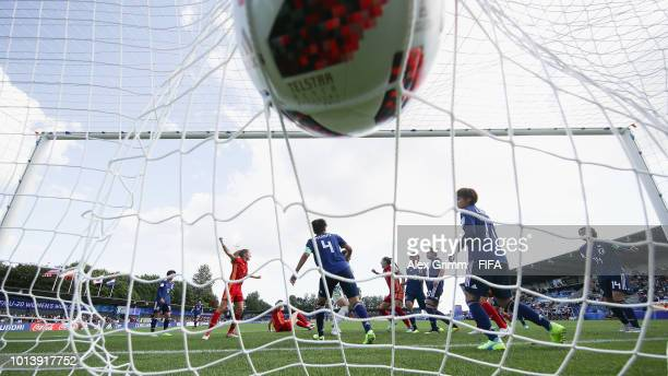 Carmen Menayo of Spain scores her team's first goal during the FIFA U-20 Women's World Cup France 2018 group C match between Spain and Japan at Stade...