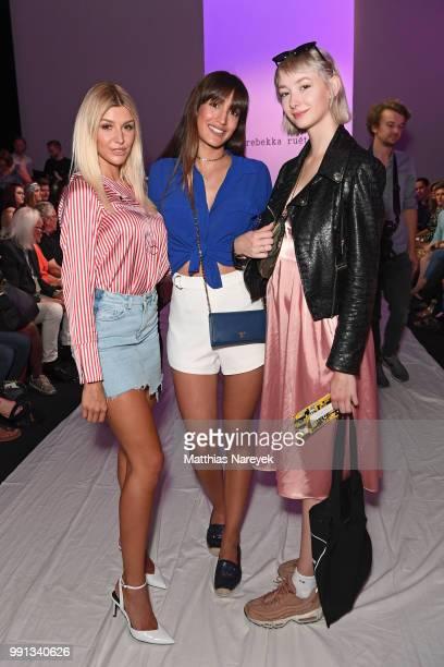 Carmen Mercedes Sara Leutenegger and Sally Haas attends the Rebekka Ruetz show during the Berlin Fashion Week Spring/Summer 2019 at ewerk on July 4...