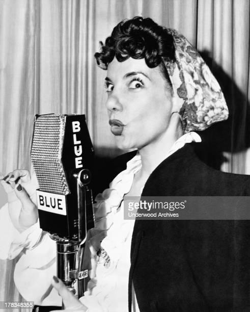 Carmen Miranda appearing on the BLUE Radio Network with Jimmy Durante and Arthur Treacher New York New York January 14 1945