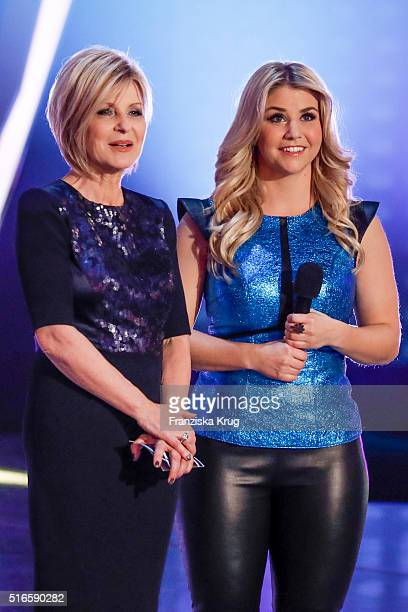 Carmen Nebel and Beatrice Egli during the TV show 'Willkommen bei Carmen Nebel' on March 19 2016 in Magdeburg Germany