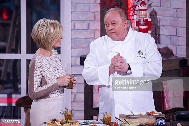 Carmen Nebel and chef Alfons Schuhbeck attend the 'Heiligabend mit Carmen Nebel' TV show at Bavaria Filmstudios on November 26 2015 in Munich Germany