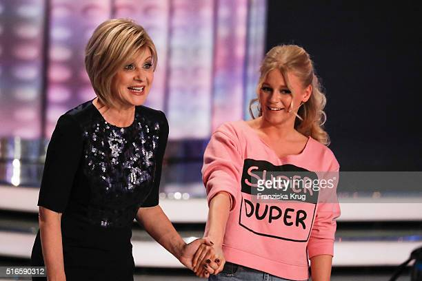 Carmen Nebel and Julia Lindholm during the TV show 'Willkommen bei Carmen Nebel' on March 19 2016 in Magdeburg Germany