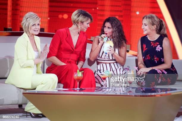 Carmen Nebel Anna Maria Zimmermann Sarah Lombardi and Caroline Beil during the tv show 'Willkommen bei Carmen Nebel' at SachsenArena on May 5 2018 in...
