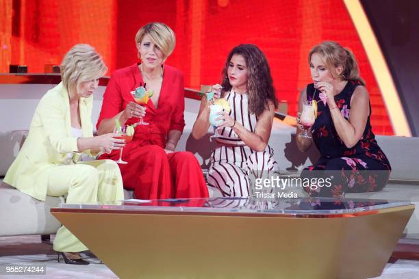 Carmen Nebel Anna Maria Zimmermann Sarah Lombardi and Caroline Beil during the tv show 'Willkommen bei Carmen Nebel' at SachsenArena on May 5 2018 in...