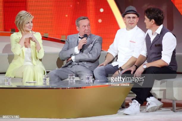 Carmen Nebel Roland Kaiser Mario Kotaska and Matze Knop during the tv show 'Willkommen bei Carmen Nebel' at SachsenArena on May 5 2018 in Riesa...