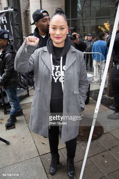 Carmen Perez attends a rally protesting the imprisonment of Meek Mill outside the Philadelphia Criminal Justice Center during the rapper's status...