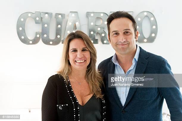 Carmen Porter and Iker Jimenez attend 'Cuarzo' new headquarters presentation on October 20 2016 in Madrid Spain