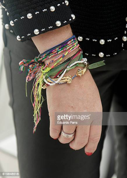 Carmen Porter bracelets detail attends 'Cuarzo' new headquarters presentation on October 20 2016 in Madrid Spain