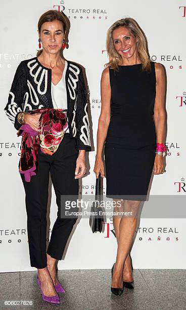 Carmen Posadas and Marta Robles attend the opening of the Royal Theatre new season on September 15 2016 in Madrid Spain