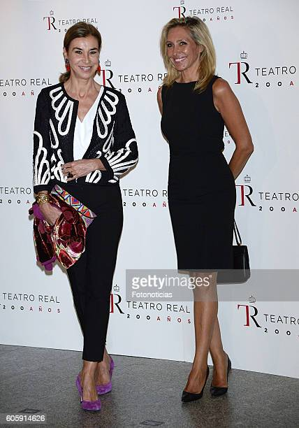 Carmen Posadas and Marta Robles attend the Royal Theatre opening season concert on September 15 2016 in Madrid Spain