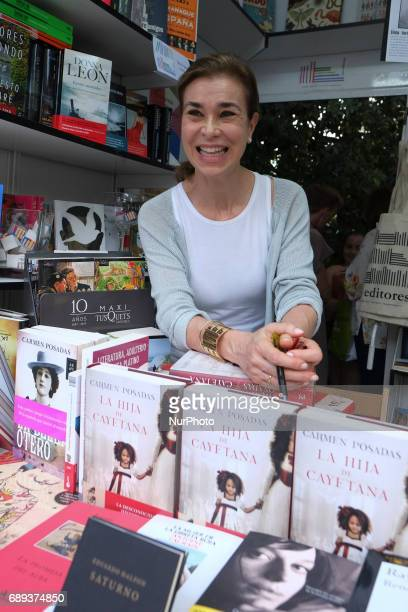 Carmen Posadas signs books during the book fair in Madrid held from May 26 to July 11 2017 in Retiro Park in Madrid Spain May 28 2017